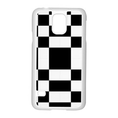 Modified Checkered Mosaic Tile Pattern Black White  Samsung Galaxy S5 Case (White)