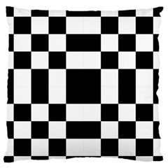 Modified Checkered Mosaic Tile Pattern Black White  Large Flano Cushion Case (One Side)