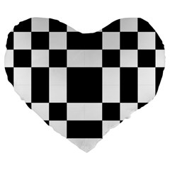 Modified Checkered Mosaic Tile Pattern Black White  19  Premium Flano Heart Shape Cushion