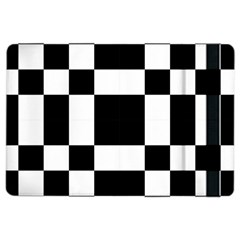 Modified Checkered Mosaic Tile Pattern Black White  Apple iPad Air 2 Flip Case