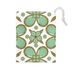 Luxury Decorative Pattern Collage Drawstring Pouch (Large)