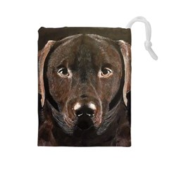 Chocolate Lab Drawstring Pouch (Large)