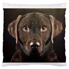 Chocolate Lab Large Flano Cushion Case (Two Sides)