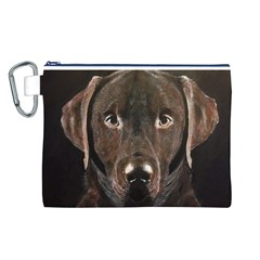 Chocolate Lab Canvas Cosmetic Bag (Large)