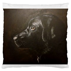 Black Lab Large Flano Cushion Case (One Side)