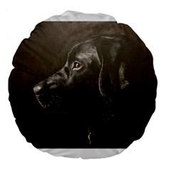 Black Lab 18  Premium Flano Round Cushion