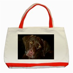 Inquisitive Chocolate Lab Classic Tote Bag (Red)