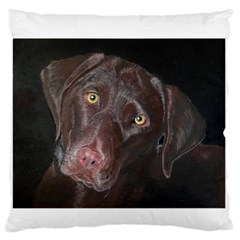 Inquisitive Chocolate Lab Standard Flano Cushion Case (One Side)