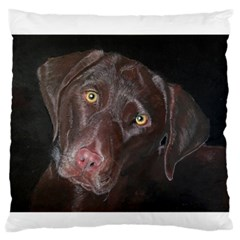 Inquisitive Chocolate Lab Large Flano Cushion Case (Two Sides)