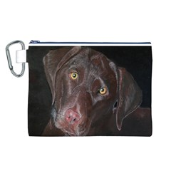 Inquisitive Chocolate Lab Canvas Cosmetic Bag (Large)