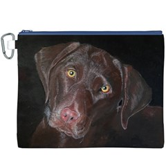 Inquisitive Chocolate Lab Canvas Cosmetic Bag (XXXL)
