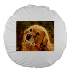 Golden Retriever 18  Premium Flano Round Cushion