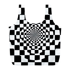 Checkered Flag Race Winner Mosaic Tile Pattern Repeat Reusable Bag (l)