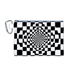 Checkered Flag Race Winner Mosaic Tile Pattern Repeat Canvas Cosmetic Bag (Medium)