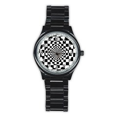 Checkered Flag Race Winner Mosaic Tile Pattern Repeat Sport Metal Watch (Black)