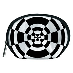 Checkered Flag Race Winner Mosaic Tile Pattern Round Pie Wedge Accessory Pouch (Medium)