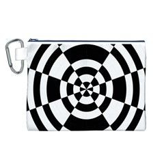 Checkered Flag Race Winner Mosaic Tile Pattern Round Pie Wedge Canvas Cosmetic Bag (Large)