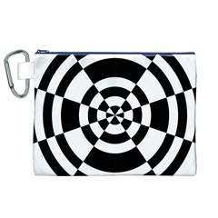 Checkered Flag Race Winner Mosaic Tile Pattern Round Pie Wedge Canvas Cosmetic Bag (XL)