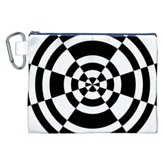 Checkered Flag Race Winner Mosaic Tile Pattern Round Pie Wedge Canvas Cosmetic Bag (XXL)