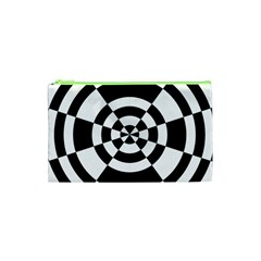 Checkered Flag Race Winner Mosaic Tile Pattern Round Pie Wedge Cosmetic Bag (XS)