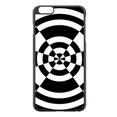 Checkered Flag Race Winner Mosaic Tile Pattern Round Pie Wedge Apple iPhone 6 Plus Black Enamel Case