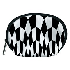 Checkered Flag Race Winner Mosaic Pattern Curves  Accessory Pouch (Medium)