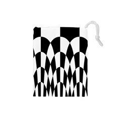Checkered Flag Race Winner Mosaic Pattern Curves  Drawstring Pouch (Small)