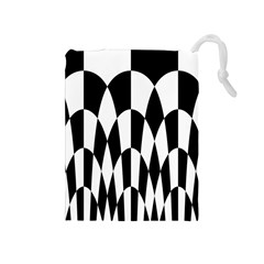 Checkered Flag Race Winner Mosaic Pattern Curves  Drawstring Pouch (Medium)