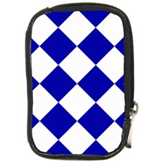 Harlequin Diamond Pattern Cobalt Blue White Compact Camera Leather Case