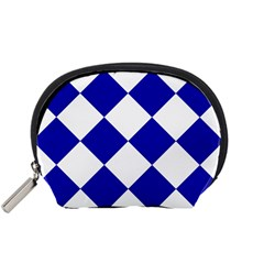 Harlequin Diamond Pattern Cobalt Blue White Accessory Pouch (Small)