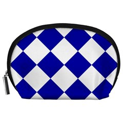 Harlequin Diamond Pattern Cobalt Blue White Accessory Pouch (Large)
