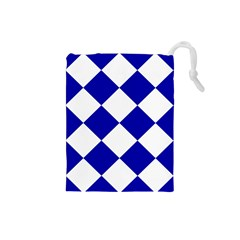Harlequin Diamond Pattern Cobalt Blue White Drawstring Pouch (Small)
