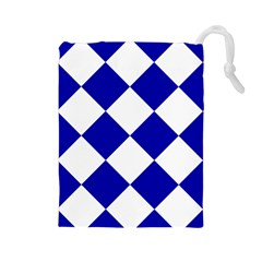 Harlequin Diamond Pattern Cobalt Blue White Drawstring Pouch (Large)