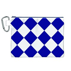Harlequin Diamond Pattern Cobalt Blue White Canvas Cosmetic Bag (XL)