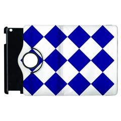 Harlequin Diamond Pattern Cobalt Blue White Apple iPad 2 Flip 360 Case