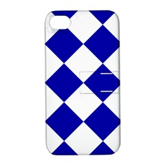 Harlequin Diamond Pattern Cobalt Blue White Apple Iphone 4/4s Hardshell Case With Stand