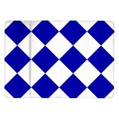 Harlequin Diamond Pattern Cobalt Blue White Samsung Galaxy Tab 10.1  P7500 Flip Case