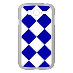 Harlequin Diamond Pattern Cobalt Blue White Samsung Galaxy Grand DUOS I9082 Case (White)