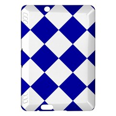 Harlequin Diamond Pattern Cobalt Blue White Kindle Fire Hdx Hardshell Case