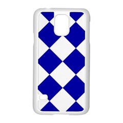 Harlequin Diamond Pattern Cobalt Blue White Samsung Galaxy S5 Case (white)