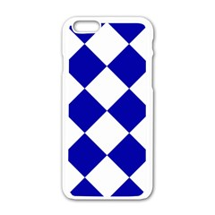 Harlequin Diamond Pattern Cobalt Blue White Apple iPhone 6 White Enamel Case