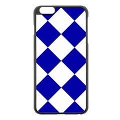 Harlequin Diamond Pattern Cobalt Blue White Apple Iphone 6 Plus Black Enamel Case