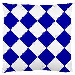 Harlequin Diamond Pattern Cobalt Blue White Large Flano Cushion Case (Two Sides)