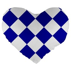 Harlequin Diamond Pattern Cobalt Blue White 19  Premium Flano Heart Shape Cushion