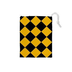 Harlequin Diamond Gold Black Drawstring Pouch (small)