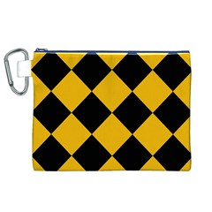 Harlequin Diamond Gold Black Canvas Cosmetic Bag (XL)