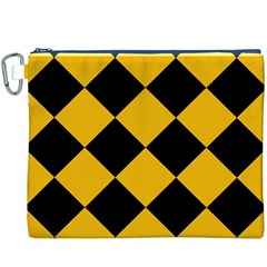 Harlequin Diamond Gold Black Canvas Cosmetic Bag (XXXL)