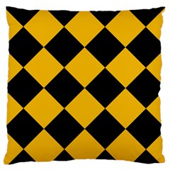 Harlequin Diamond Gold Black Standard Flano Cushion Case (Two Sides)