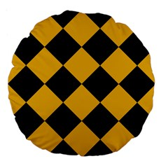 Harlequin Diamond Gold Black 18  Premium Flano Round Cushion