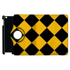 Harlequin Diamond Gold Black Apple iPad 3/4 Flip 360 Case